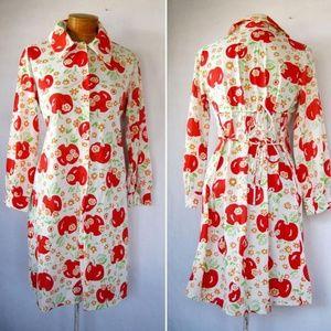 Vintage 70s Apple Print Button Front Dress M